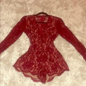 Long sleeve red lace romper. Size small